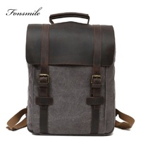 T014 New Arrive Canvas With Cow Leather Vintage Backpacks For Men Travel Rucksacks Large School Bagpack Daily 14 Laptop Bookbag