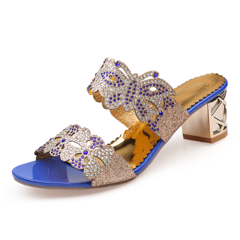 Aliexpress.com   Buy Ekoak 2018 New fashion rhinestone cut outs women  sandals Square heel Party summer shoes woman high heels sandals with  Butterfly from ... 5767ff29824c