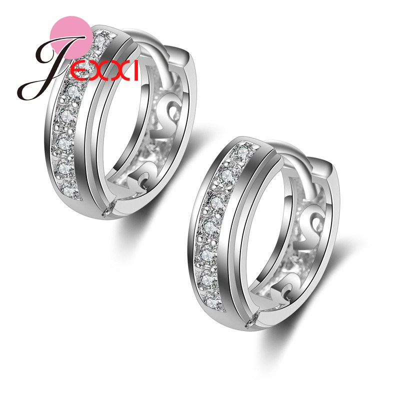 PATICO Fashion Silver Earrings With Stones For Women Imitated font b Crystal b font Hoop Earrings
