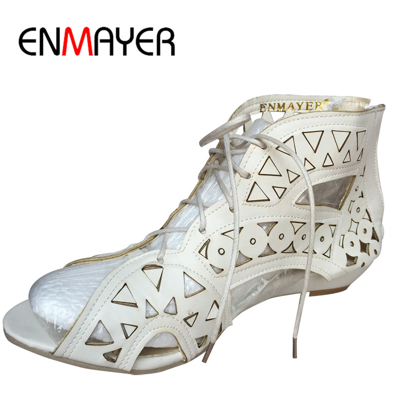 ENMAYER Stor Storlek 34-43 Mode Cutouts Lace Up Sandaler Öppna Toe Låg Wedges Bohemian Sommarskor Beach Shoes Woman White Shoes