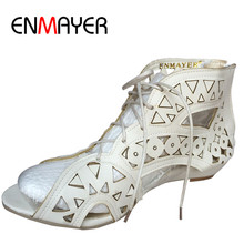 ENMAYER Big Size 34-43 Fashion Cut-outs Lace Up Sandals Open Toe Low Wedges  Bohemian Summer Shoes Beach Shoes Woman White Shoes 74358ea6d069