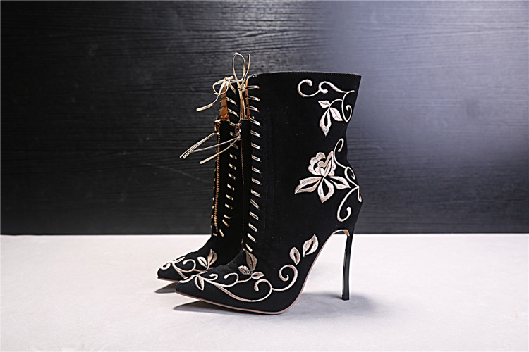 42031fabb173 Spring Boots Women Ankle Printed Flower Boots High Heels Sexy Peep Toe  Booties Black Lace Up Stiletto Ankle Boots Botines Mujer-in Ankle Boots  from Shoes on ...