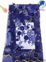 BEAUTIFICAL blue 3d lace french lace fabric flowers 3d african laces 3d embroidery beading lace applique 5yards per lot ML44N126