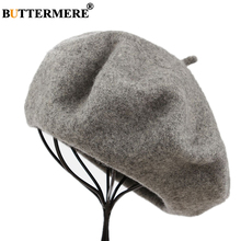 BUTTERMERE Winter Hat Wool Beret Women Solid 100% Woolen Hats for Vintage Gray Yellow Purple Blue Female French