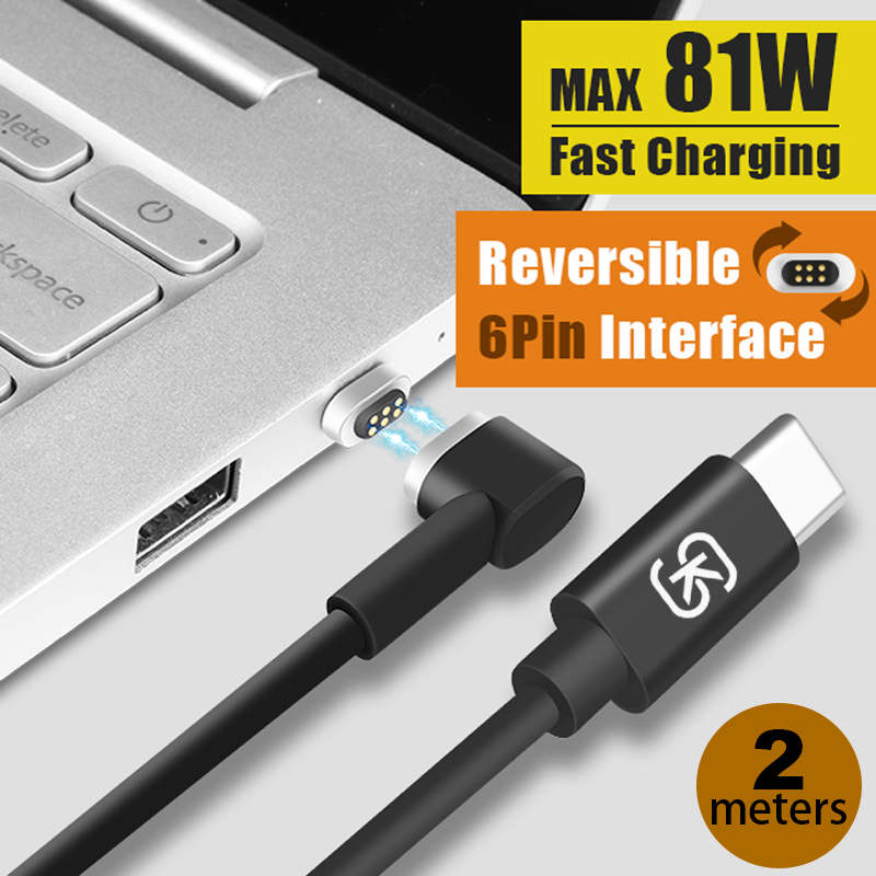SIKAI Magnetic Charging Cable 45w PD Fast Charge USB-C Type-C Cable for Macbook Samsung S8 Huawei P9 P10 HTC Quick Charger