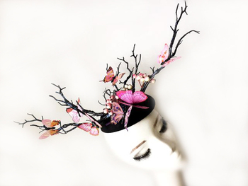 Ladies Fascinator Headpiece Wedding Party Mini Top Hat Handmade Gothic Antler Butterfly Headdress Tree Branches Hair Accessories 1