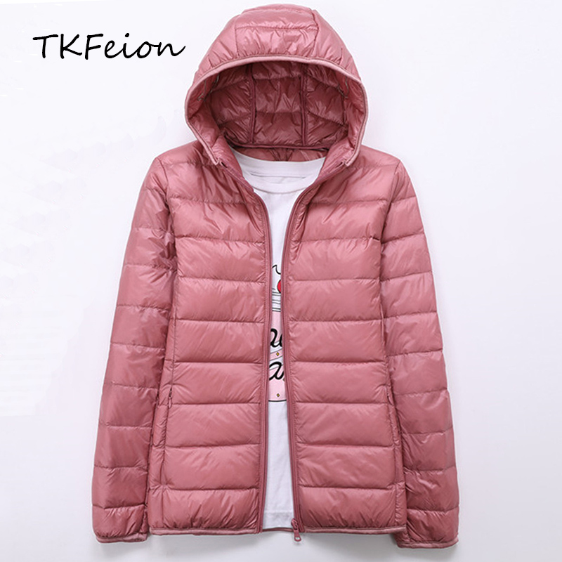 Spring Autumn Womens Jackets Ultra Thin and Light Fashion Ladies Casual   Down     Coats   Red Pink Black Female Hooded Jacket   Coats   4XL