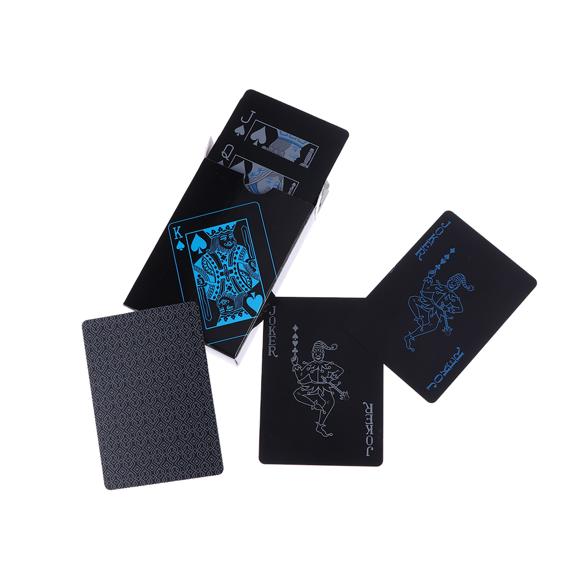 1 Paia Pvc Impermeabile Carte Da Gioco Set Di Colore Puro Nero Carte Da Poker Classici Trucchi Di Magia Strumento Con La Scatola Ampia Selezione;