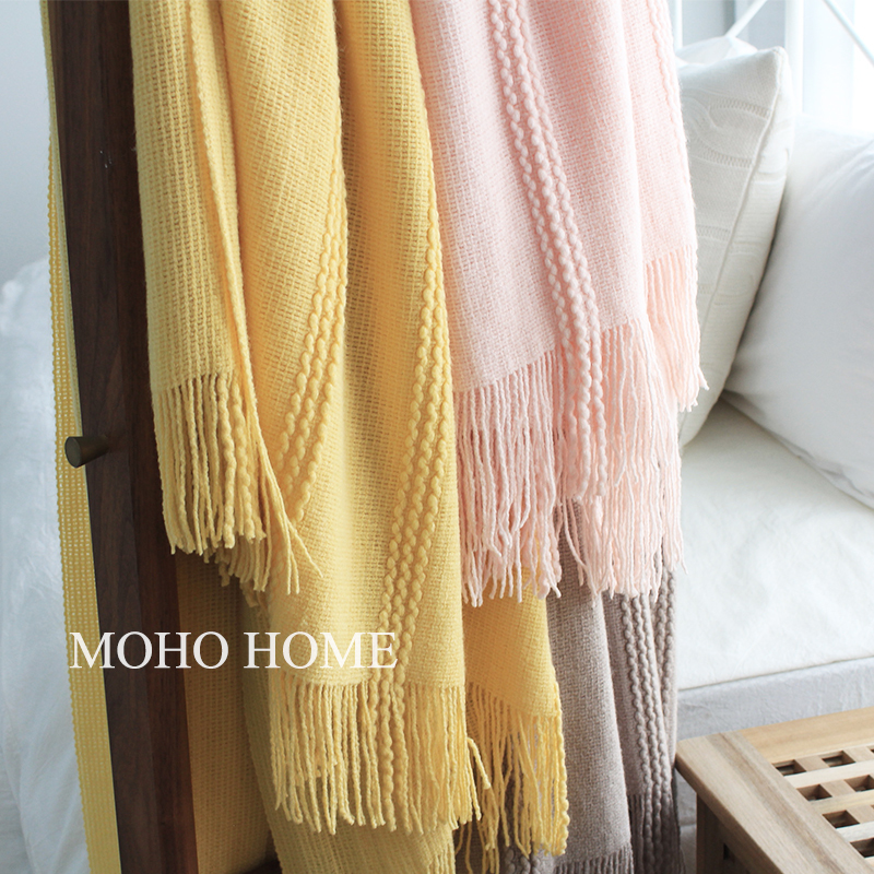 Nordic Style Simple Knit Decorative Blanket Sofa Leisure Blanket Napping Blanket Air Conditioning Blanket Solid Color New Towel