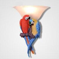 Oro moderno colorido loro resina lámpara de pared Creative Bird pared Mounted Sconce iluminación para niños dormitorio salón dormitorio