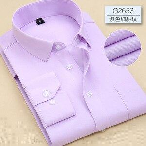 Image 5 - 2019 Повседневная однотонная приталенная мужская деловая рубашка с длинными рукавами, Мужская классическая рубашка, Мужская классическая рубашка, мужская рубашка