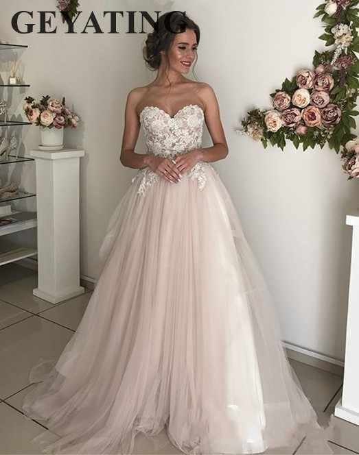 2644d4e47a9 Blush Pink Tulle Wedding Dress 2019 Elegant Appliqued Lace Sweetheart Sweep  Train Cheap Wedding Gowns A