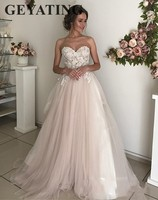 Blush Pink Tulle Wedding Dress 2019 Elegant Appliqued Lace Sweetheart Sweep Train Cheap Wedding Gowns A line Boho Bride Dresses
