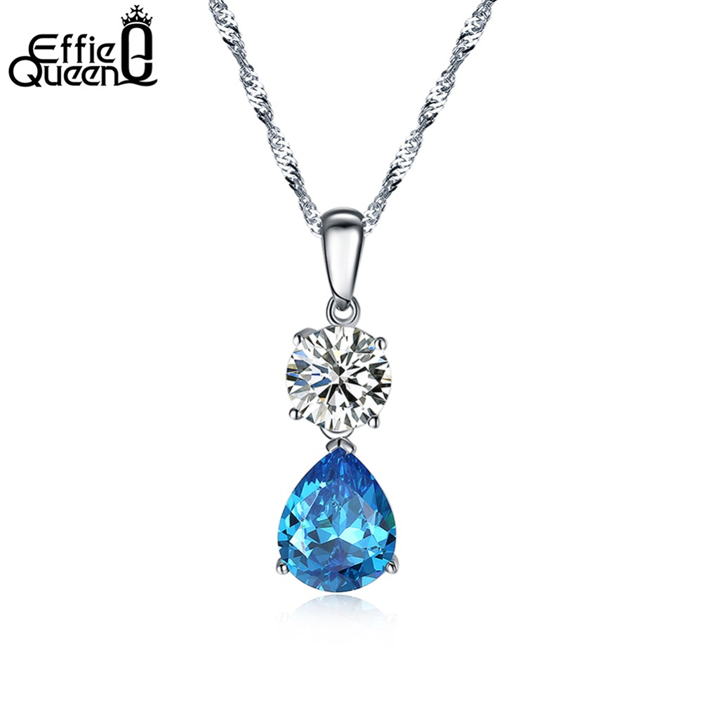7089e39d5 Effie Queen Water Drop Cubic Zircon Chain Necklaces   Pendants White Gold  Color Fashion Crystal Wedding Jewelry For Women DN120-in Pendants from  Jewelry ...
