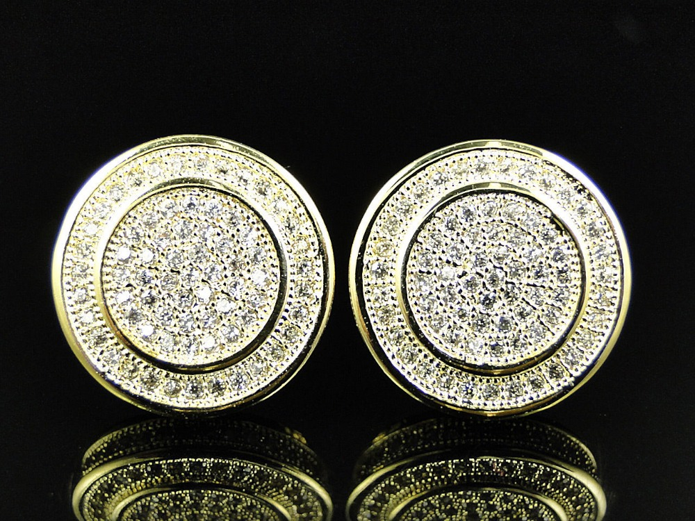 high quality 925 sterling silver round micro pave cubic zirconia screwback Gold earring for men