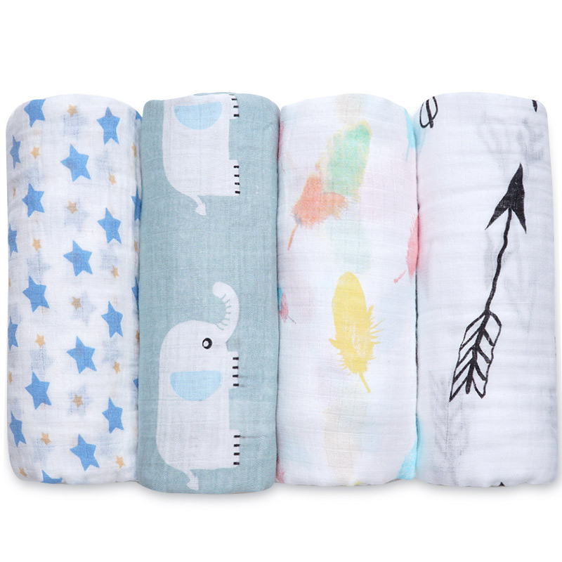 Baby Blanket Swaddle Newborn Muslin Big Diapers Soft Baby Bath Towel Cartoon Animal Flamingo Print Kids Bedding Set Cotton Quilt