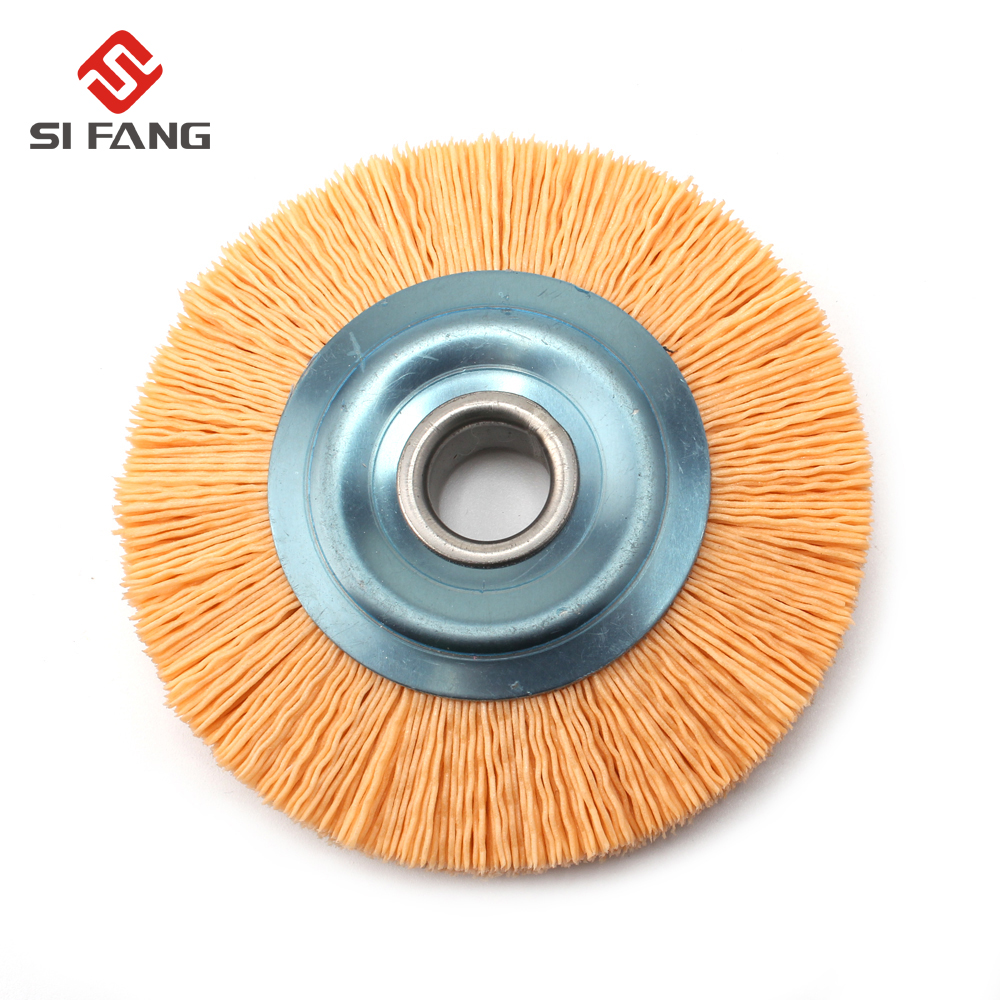 4'' Abrasive Nylon Wire Wheel Brush 16mm Bore Diameter Polish Bench Grinder 240 Grit