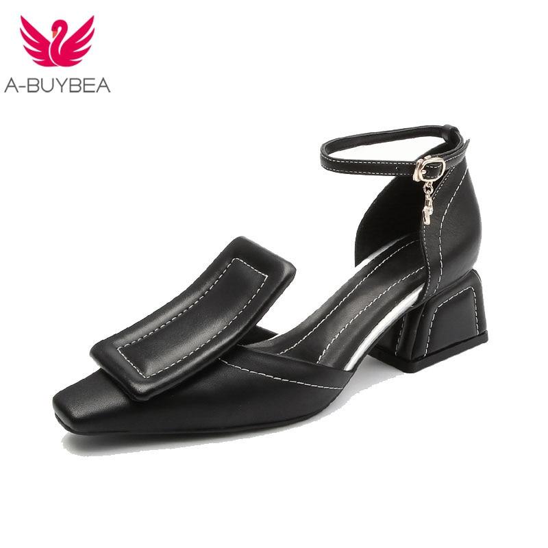 En 2019 Femme Véritable Cheville Sangle Sandale Nouveau Talon Noir Femelle Design Sandales Haute blanc Pour Sabot Dames Cuir Chaussures D'été ZuPXik