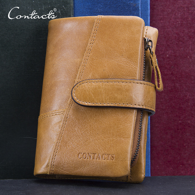 CONTACT'S Top Quality New Arrival Genuine Leather Wallet Men Short Wallets Luxury Card Holder Price Male Purse Coin Bag Portmone