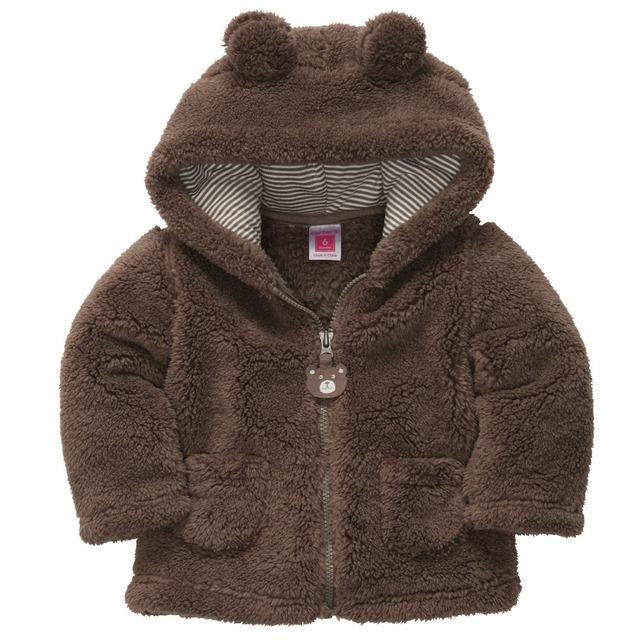 Bebé niños niñas otoño invierno leopardo cabritos de la chaqueta con capucha de algodón acolchado ropa de abrigo bebé solid escudo con los oídos para 0-24 meses