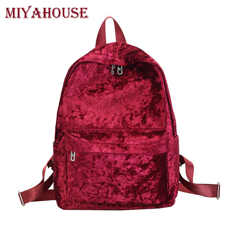 Miyahouse Female Soft Velour Velvet Backpacks Women Fashion Style Large Capacity Shoulder Bags Teenager Girls Solid Travel Bags miyahouse female harajuku ulzzang soft velvet backpacks teenagers girls koreanstyle velour shoulder schoolbags women travel bags