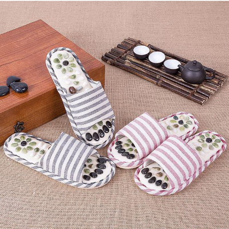 170607/Pebble massage slippers / health acupuncture point magnet massage shoes / foot nail-resistant soft home cool sandals  natural pebble foot massage slippers point massage shoes men and women couple home skid shoes tb20903