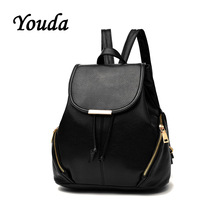Youda High Quality Bags Youth Pu Leather Backpacks Fashion Women Backpack for Teenage Girls Female School Shoulder Bag Satchel недорого