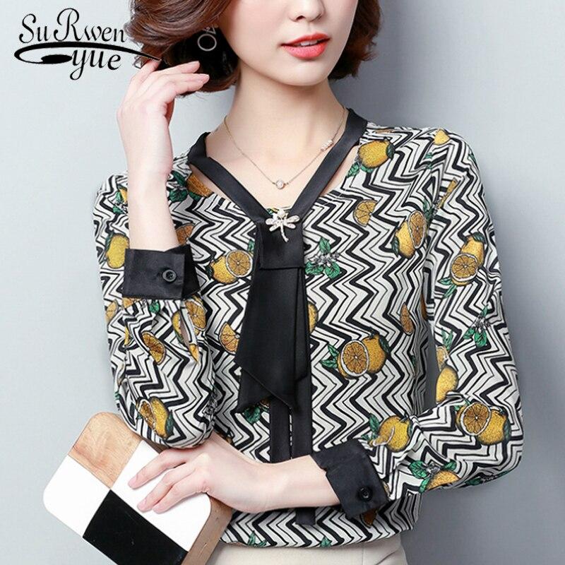 6654bbe9228 Плюс Размеры 3XL рубашка Для женщин модные женские блузки 2019 с длинным  рукавом печати Шифоновая блузка Для женщин топы Blusa женственная рубашк.