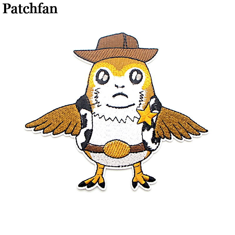 Patchfan Porg bird applique patches iron on para shirt clothes jacket embroideried sticker accessory clothing dress badge A2100