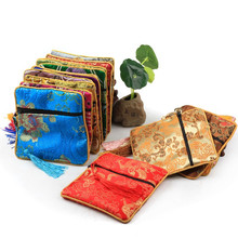 Zipper Jewelry Pouches Chinese Style Vintage Gifts Bags Coin Tassel Decor Cotton Silk Pouch 30pcs/lot 11.5x11.5cm Square Bag