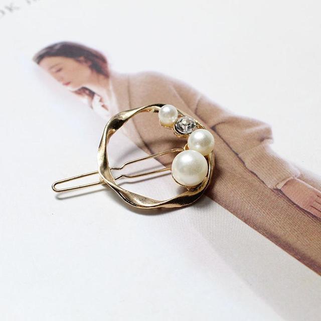 Korean Style Pearl Hairpins Woman Barrettes Geometric Hair Clips Gold Vintage Headwear Hairpins Female Hair Accessories