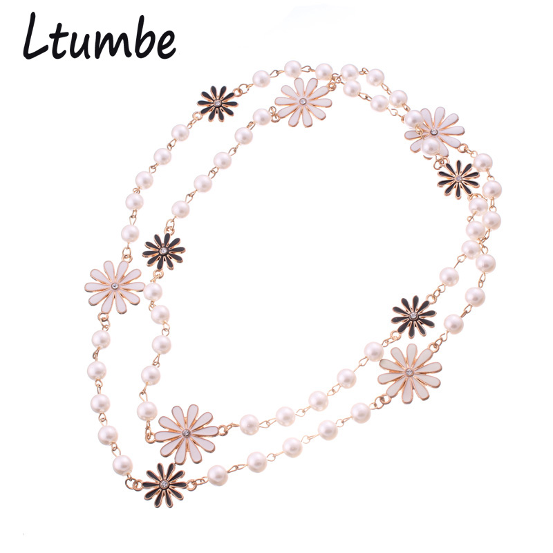 Ltumbe New Gold Color Long Simulated Pearl Chain Necklaces Crystal Flowers Pendants Necklaces For Women Sweater Chain Jewelry