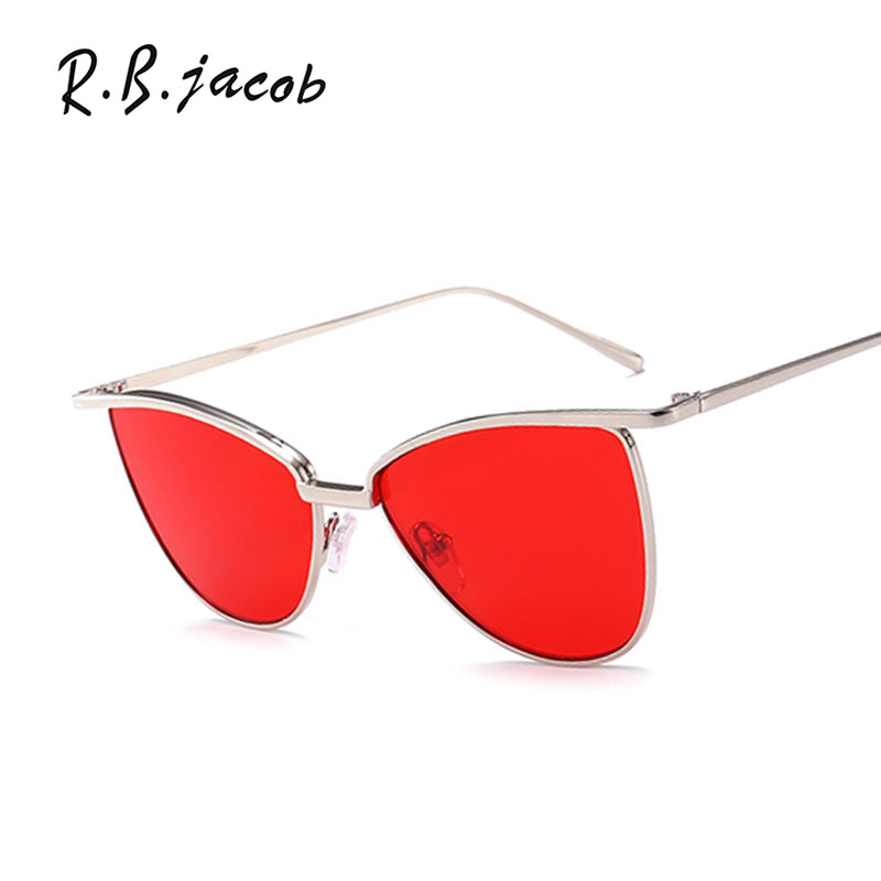 2017 New Fashion Clear Mirror Sunglasses Women Cat Eye Cool Vintage Top Quality Sun Lady Glasses Metal Reflective Oculos Eyewear