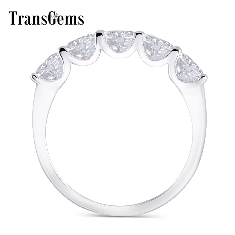 Transgems 1 25 Carat CTW 4mm F Color Solid 14K 585 white Gold Half Eternity Wedding