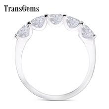 Transgems 1.25 캐럿 CTW 4mm F 컬러 솔리드 14K 585 화이트 골드 하프 영원 웨딩 밴드 Moissanite Diamond Wedding Band