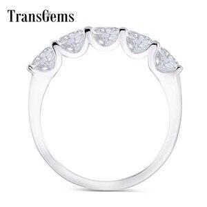 Image 1 - Transgems 1.25 Carat CTW 4mm F Color Solid 14K 585 white Gold Half Eternity Wedding Band Moissanite Diamond Wedding Band