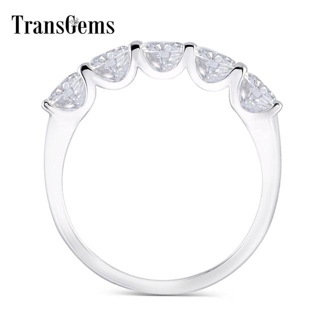 Transgems 1.25 Carat CTW 4mm F Color Solid 14K 585 white Gold Half Eternity Wedding Band Moissanite Diamond Wedding Band