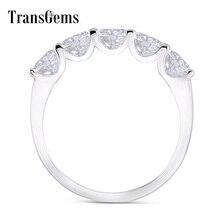 Transgems 1.25 karat CTW 4mm F renk katı 14K 585 beyaz altın yarım sonsuzluk düğün Band Moissanite elmas düğün Band