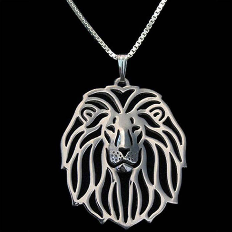 10pcs Lion Head Necklace Silver Plated Dog Pendant Necklaces Animal Charm Christmas Gifts For Pet Lovers Jewelry