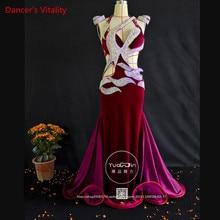 Professional Custom Made Women Belly Dance Dress Luxury Austrian Diamond Velvet Belly Dance Sleeveless Dress