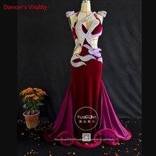 Professionale Su ordine Delle Donne di Danza Del Ventre Vestito di Lusso Diamante Austriaco di Velluto Danza Del Ventre Abito Senza Maniche