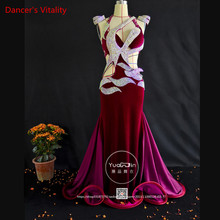 Profesyonel Custom Made kadın oryantal dans elbise lüks avusturyalı elmas kadife oryantal dans kolsuz elbise