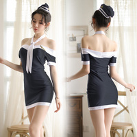 Hot New Flight Attendant Role Play Dress Women Erotic Sexy Uniform Costume Sexy Lingerie Hollow Porno Air Hostess Underwear