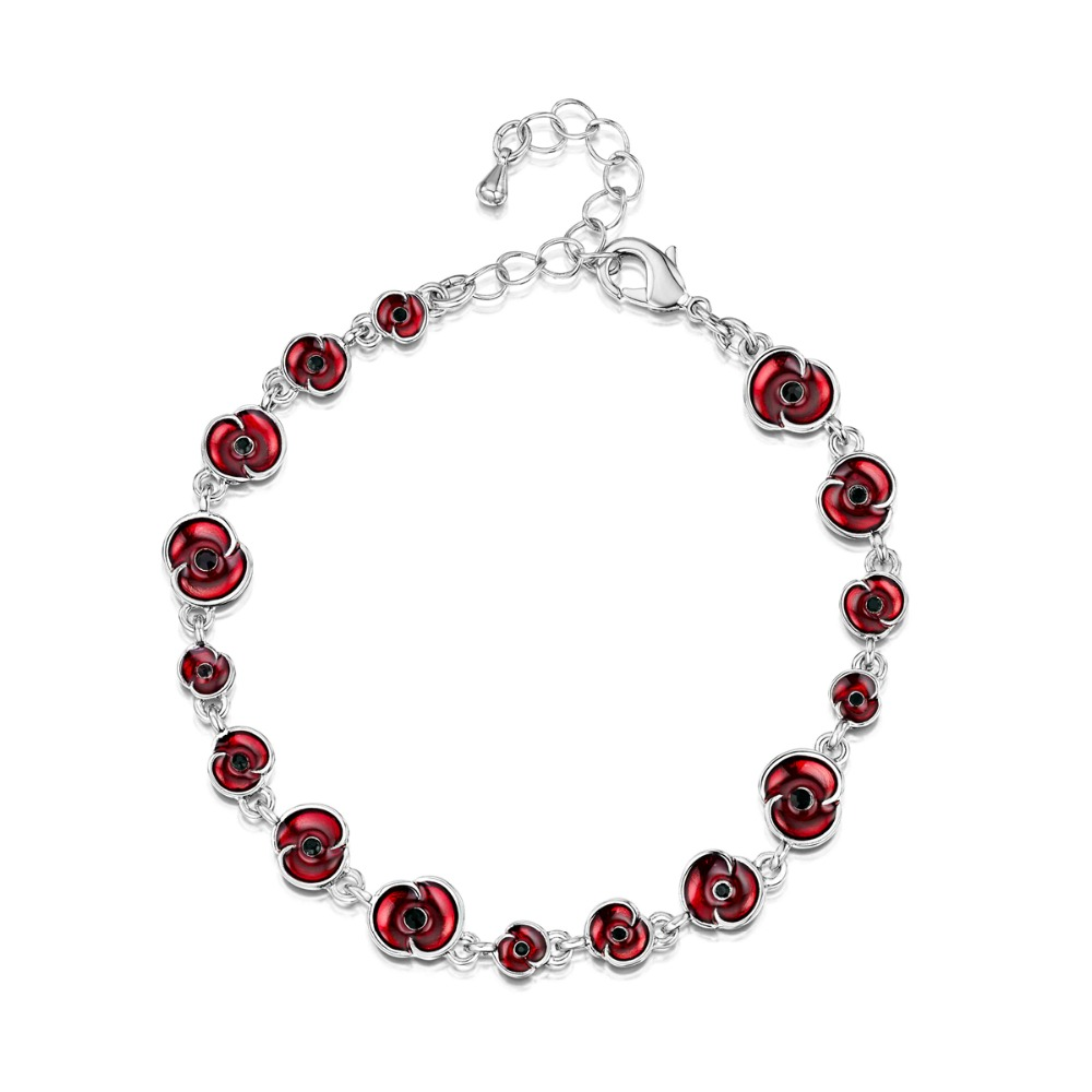 White Gold Ruby Red Enamel Poppy Collection Cascad