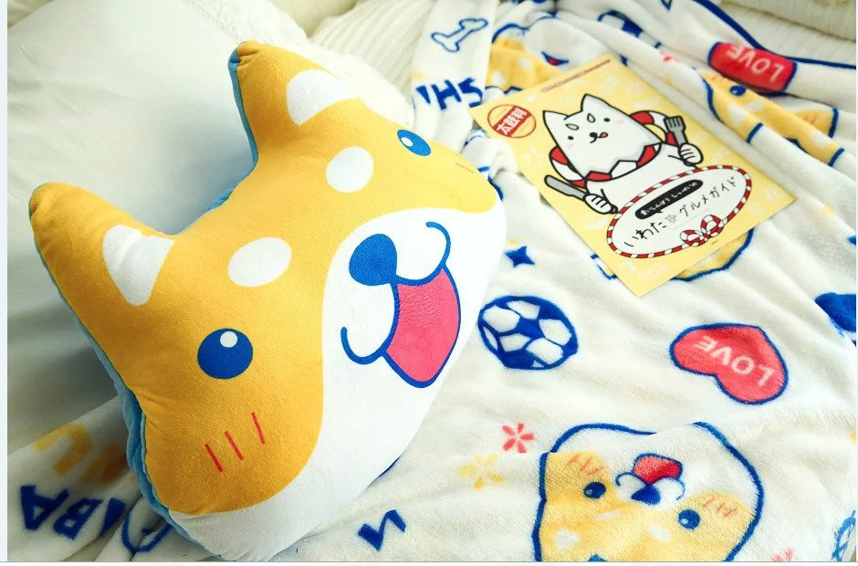 1pc 100cm lovely Akita Inu dog pillow plush coral fleece rest office cushion + blanket stuffed toy romantic gift for baby cartoon dog plush pillow shiba inu