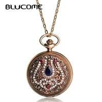 Turkish Quartz Pocket Watch Necklace For Women Acrylic Antique Gold Plated Exquisite Vintage Sweater Pendant Necklace
