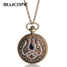 Blucome New Turkish Quartz Pocket Watch Necklace For Women Resin Antique Gold Color Vintage Sweater Pendant