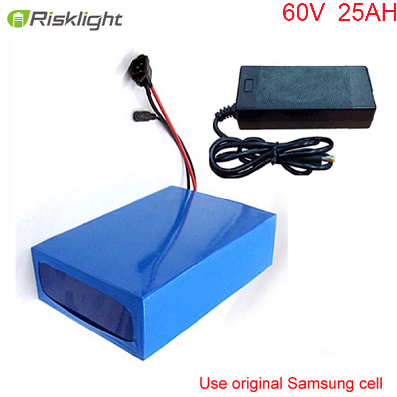 ebike lithium battery 60v 25ah lithium ion bicycle 60v 3000w electric scooter battery for kit electric bike For Samsung cell factory direct price 60v 60ah diy rechargeable lithium ion battery powered 3000w electric chopper bike