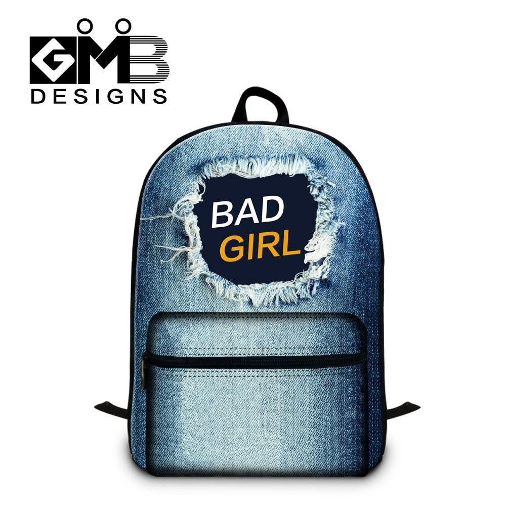 Custom Backpacks for Youth Cool School back Pack for Boys Girls Fashion Jean Printed Laptop Bag Teen girly Backpacking bag