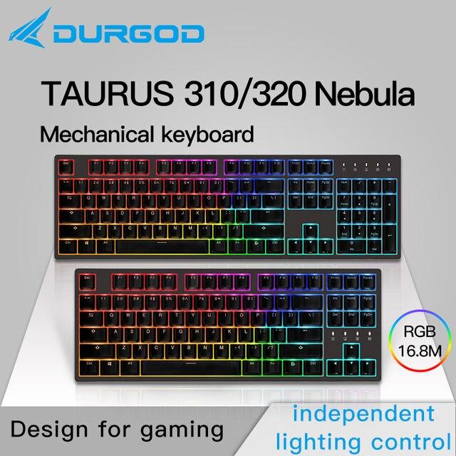 Durgod 87 104 320 310 Tinh Vân RGB Cơ Khí Chiếu Sáng Bàn Phím Cherry MX PBT Doubleshot Nâu Xanh Đen Im Lặng Đỏ Bạc